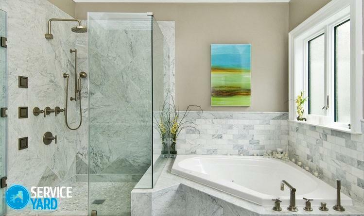 Bathroom design with corner bath