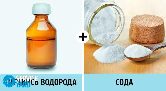 Peroxide of hydrogen and soda for cleaning dishes